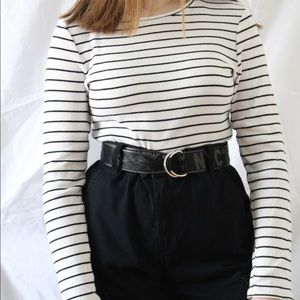 Tops - black and white striped sweater